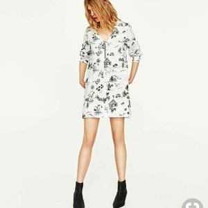 Zara Basic White Printed Shift Dress